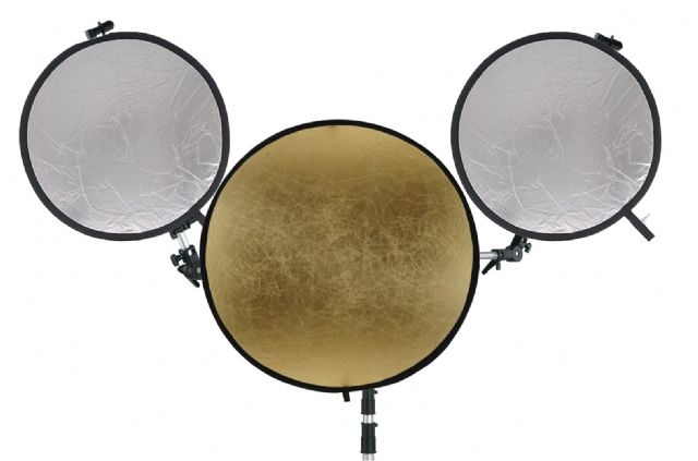Falcon Eyes Tri-Reflektorhalter mit 3 Reflektoren und Stativ